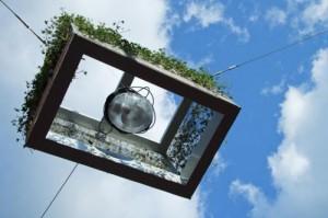 hangende lantaarnpaal met planten